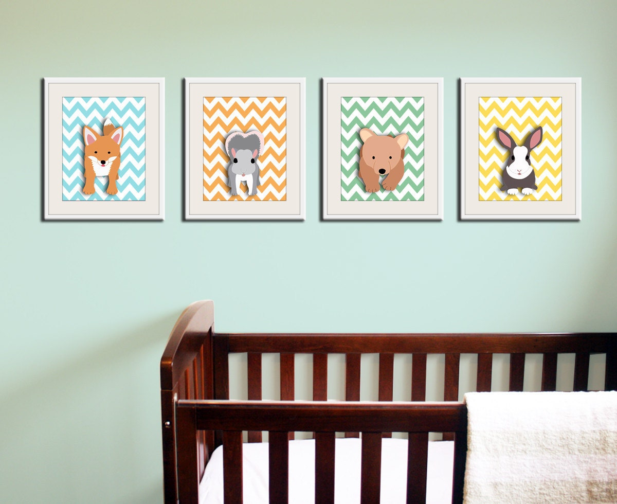 Woodland nursery art chevron prints forest animal critters for Nursery wall art