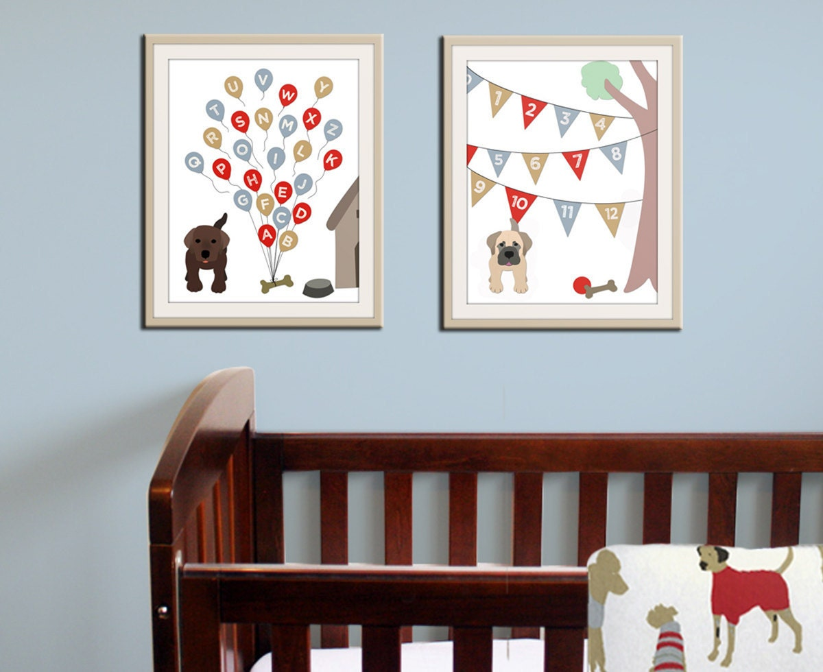 Baby nursery art print dog abc nursery decor alphabet print for Room decor etsy