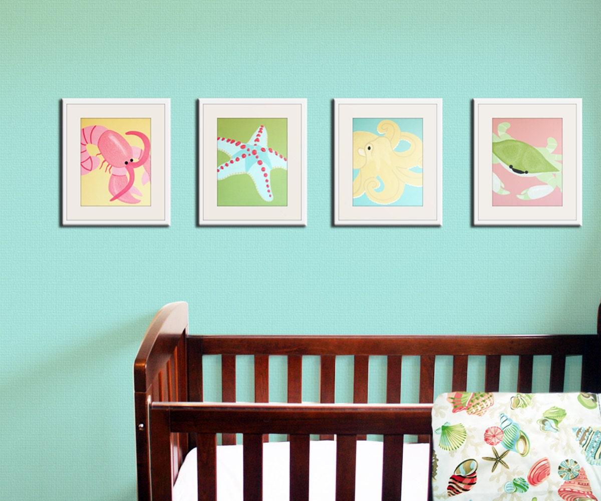 baby nursery art sea creature prints beach art for kids. Black Bedroom Furniture Sets. Home Design Ideas