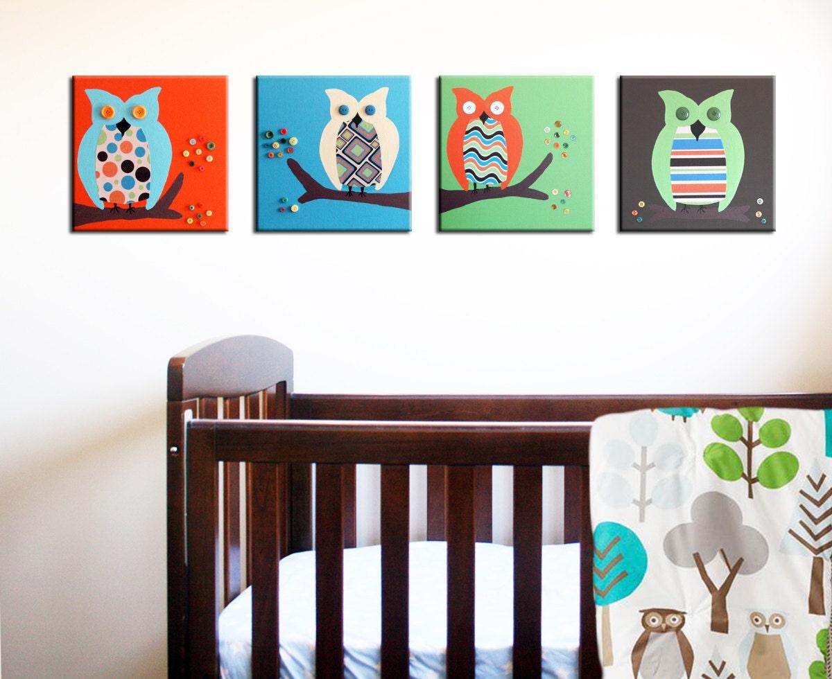 Owl Canvas Nursery Art Baby Nursery Canvas Art Owl Canvas