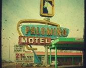 Route 66 motel sign - 4x4 american route 66 sign retro photo - Palomino Motel