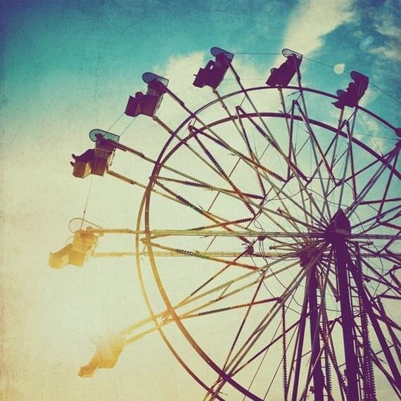 Items similar to Carnival ferris wheel photo, turquoise ...