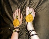 select of 16 colores: pair leaf barefoot sandals / hand harnas