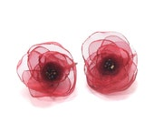 Fabric Flower Poppy Dangles - Shimmery Red