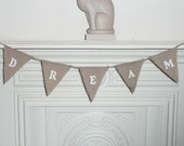 Mini Hessian Burlap Bunting - DREAM white lettering - Or Customise Me