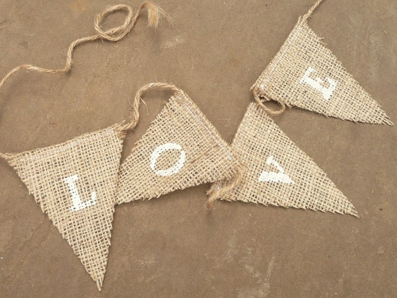 Burlap (Hessian, Jute) Mini Bunting - 'LOVE'