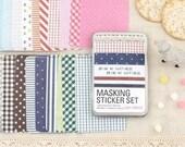 Washi Masking Sheet Deco Adhesive Tape - Fabric pattern Masking Stickers in tin box