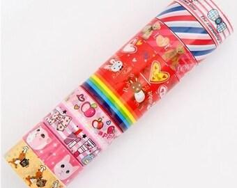 Adhesive Deco Mini Tape Stickers 10 ROLLS SET -O- bow, cat, bear, stripe, apple