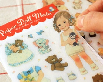 SALE Vintage Dolls paper adhesive Stickers Paper Doll 6 sheets FREE SHIP with purchase