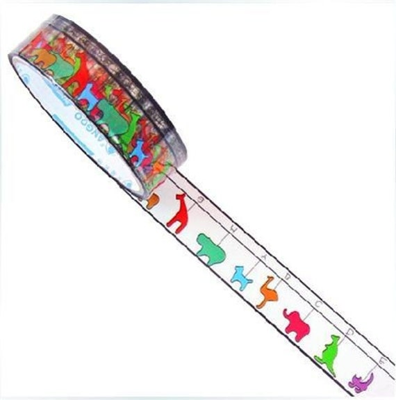 Sale 30% off TRANSPARENT Deco Tape Adhesive Stickers - colourful animals DT54
