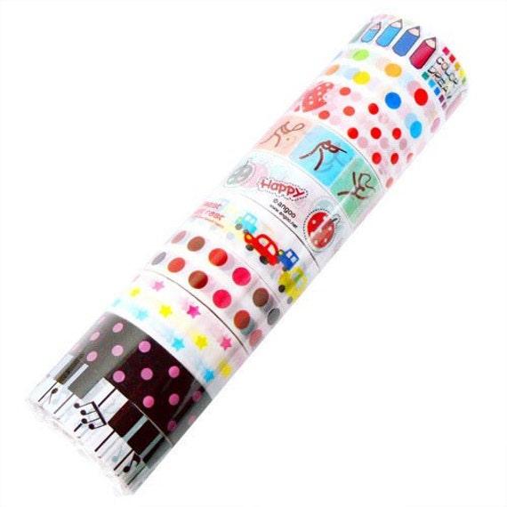 Adhesive Deco Mini Tape Stickers 10 ROLLS SET - E - Piano, Pen, Polka dots, fruit, cars