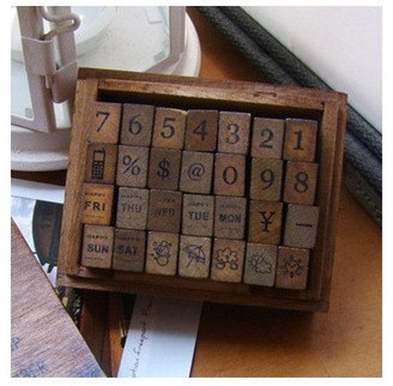 Korean DIY vintage wooden stamps number week (wooden box, 28 stamps)