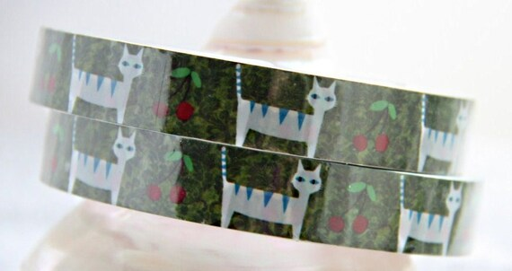 Sale 30% off Cat and Cherry Deco Tape adhesive Stickers DT287