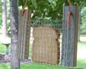 Toast or Bread Bird Feeder, Reclaimed Natural Weathered Wood Bird Feeder, Blue, Green or Orange Hay String