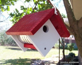 Wooden Birdhouse, Coffee Can Birdhouse, Primitive Rustic Bird House, Painted Recycled Weathered Rough Cedar, Red Roof