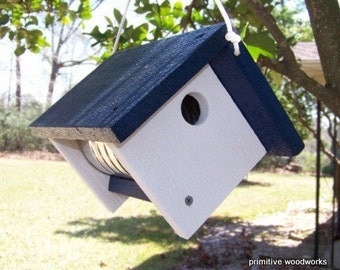 Wooden Birdhouse, Coffee Can Birdhouse, Primitive Rustic Bird House, Painted Recycled Weathered Rough Cedar, Blue Roof