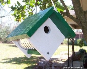 Wooden Birdhouse, Coffee Can Birdhouse, Primitive Rustic Bird House, Painted Recycled Weathered Rough Cedar, Green Roof