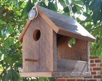 Wooden Bird House Bird Feeder, Reclaimed Natural Weathered Wood Bird Feeder, Rustic Primitive Bird Feeder
