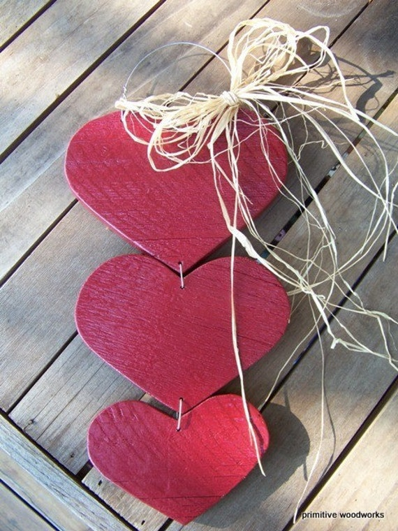 Rustic Wood Hearts, Rustic Home Decor, Farmhouse Decor, Home is Where You Hang Your Heart, Red Painted Hearts