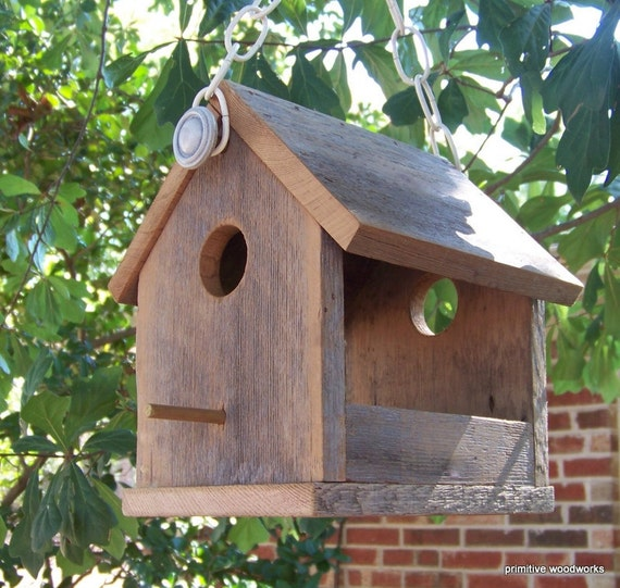Wooden bird house bird feeder reclaimed natural weathered - Scrap wood decorated house ...