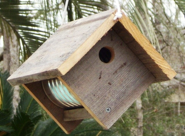 Primitive Rustic Coffee Can Birdhouse Recycled Weathered