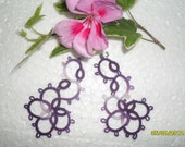 Handmade tatted earrings made of violet cotton thread