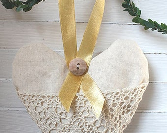 Lavender heart sachet with lace