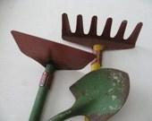 1950s Rustic Petite Size Metal Garden Tools Vintage