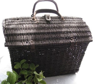 French Wicker Basket with Leather Handles Rustic