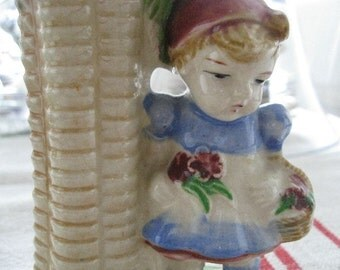 Sweet Little Garden Girl  Vase Vintage