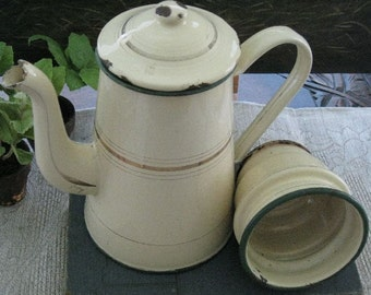 French Enamelware Ivory Coffee Biggin Vintage 1930s