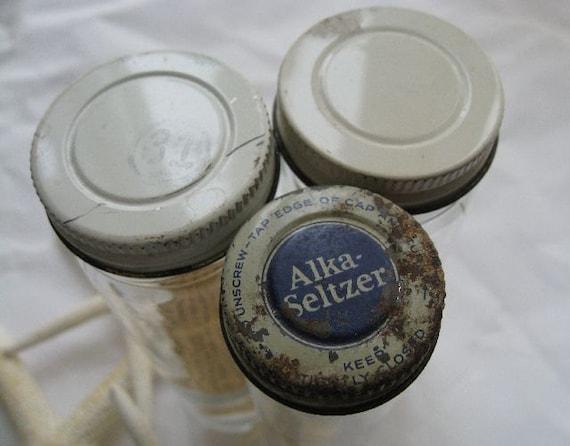 Old Glass Bottles Single Alka Seltzer Vintage By Paprikarose