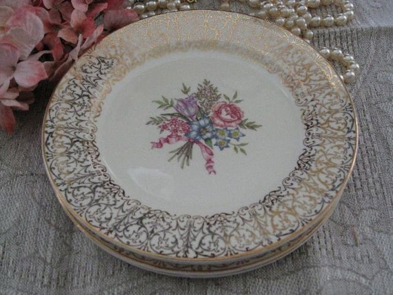 Edwin Knowles China Co. Plates 1940s Vintage Set of 4