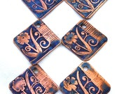 Flowers & Grooves - 24 mm Etched Copper Diamond Drops/Charms - Sold As ONE PAIR - Metallic Blue