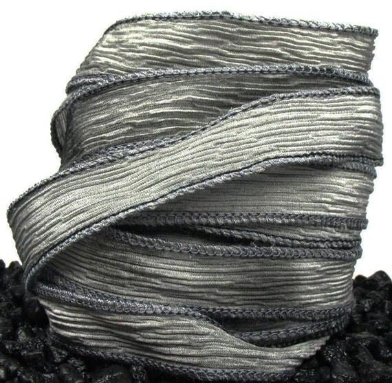 Silver Lining - Set of 5 Handmade Crinkle Silk Necklace Ribbons - Mottled Greys