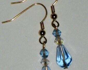 Delicate Crystal Clear Blue Dew Drop Glass Teardrop Earrings