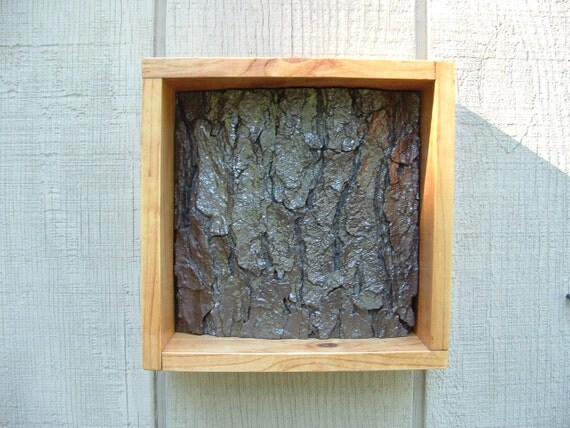 Hammered Metallic Textured Tree Relief in Light Brown Frame - 8 x 8
