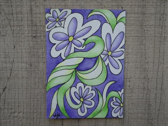 Purple Daisies - Original ACEO Illustration