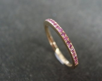 Pink Sapphire Wedding Band in 18K Rose Gold, Wedding Ring, Thin Gold Ring, Engagement Ring, Personalized Jewelry, Sapphire Ring, Pave Ring