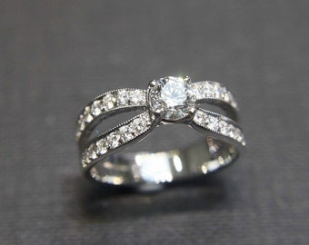 Custom MicroPave Engagement Ring, Chic Diamond Ring, Colorless Pave Ring for Anniversary, Unique Band for Engagement, 4 Prong Diamond Ring