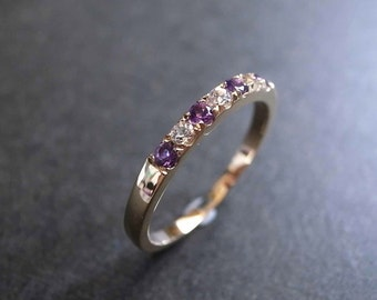 Amethyst Ring, White Sapphire Wedding Band in 14K Yellow Gold, Amethyst Purple Wedding, Engagement Ring, Jewelry, Women's Ring, Wedding Ring