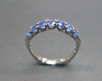 Blue Sapphire Ring, Wedding Ring in 14K White Gold, Blue Sapphire Wedding Band, Blue Sapphire Band, Women Ring, Unique Rings, Custom Made