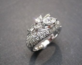 Marquise Diamond Wedding Ring in 14K White Gold, Marquise Wedding Band, Engagement Ring, Diamond Engagement Ring, Diamond Band, Mothers Ring