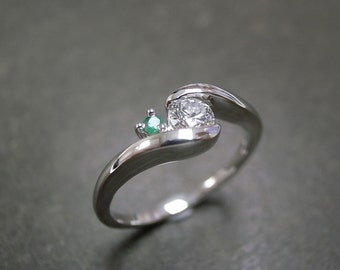 Diamond and Emerald Engagement Platinum Ring, Diamond Engagement Ring, Emerald Ring, Diamond Band, Platinum Engagement Ring, Emerald Jewelry