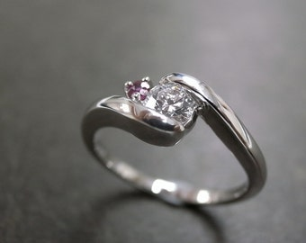 Diamond Engagement Ring with Ruby and 0.25ct Diamond
