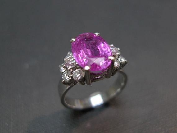 Pink Sapphire Diamond Ring in 18K White Gold