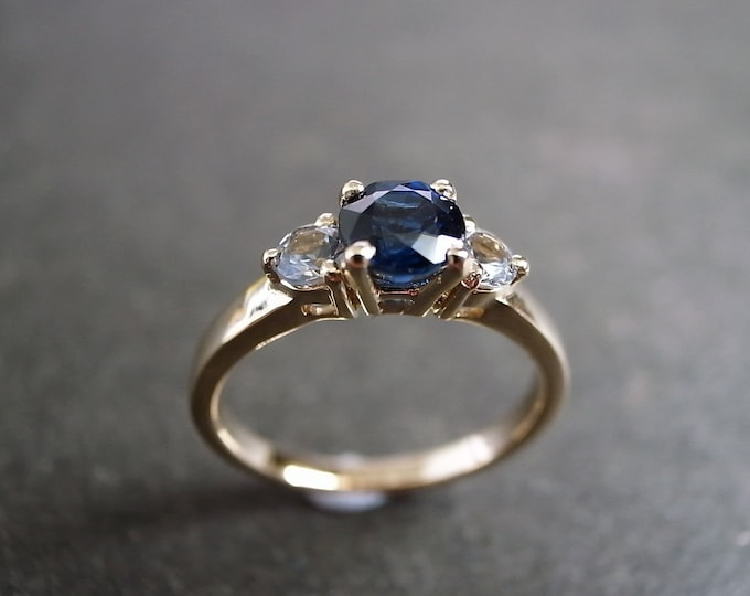 Blue Sapphire and White Sapphire Wedding Ring in 14K Rose Gold, Wedding Band, Engagement Ring, Gemstone Jewelry, Three Stone Engagement Ring