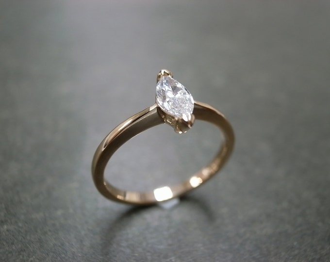 Marquise Diamond Engagement Ring Solitaire Rings Band Custom Made Jewelry Women Jewellery Gift in 18K Rose Gold / White Gold / Yellow Gold