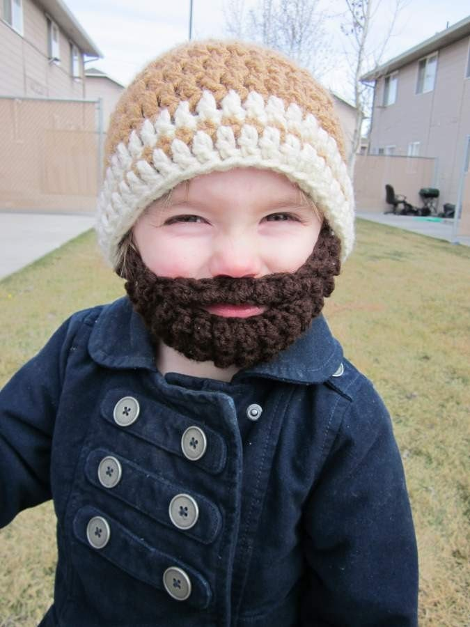 Prayer Shawl Patterns Free Knit : Kids ULTIMATE Bearded Beanie Warm Brown