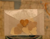 Real wood heart envelope seals, birch and cherry, set of 20